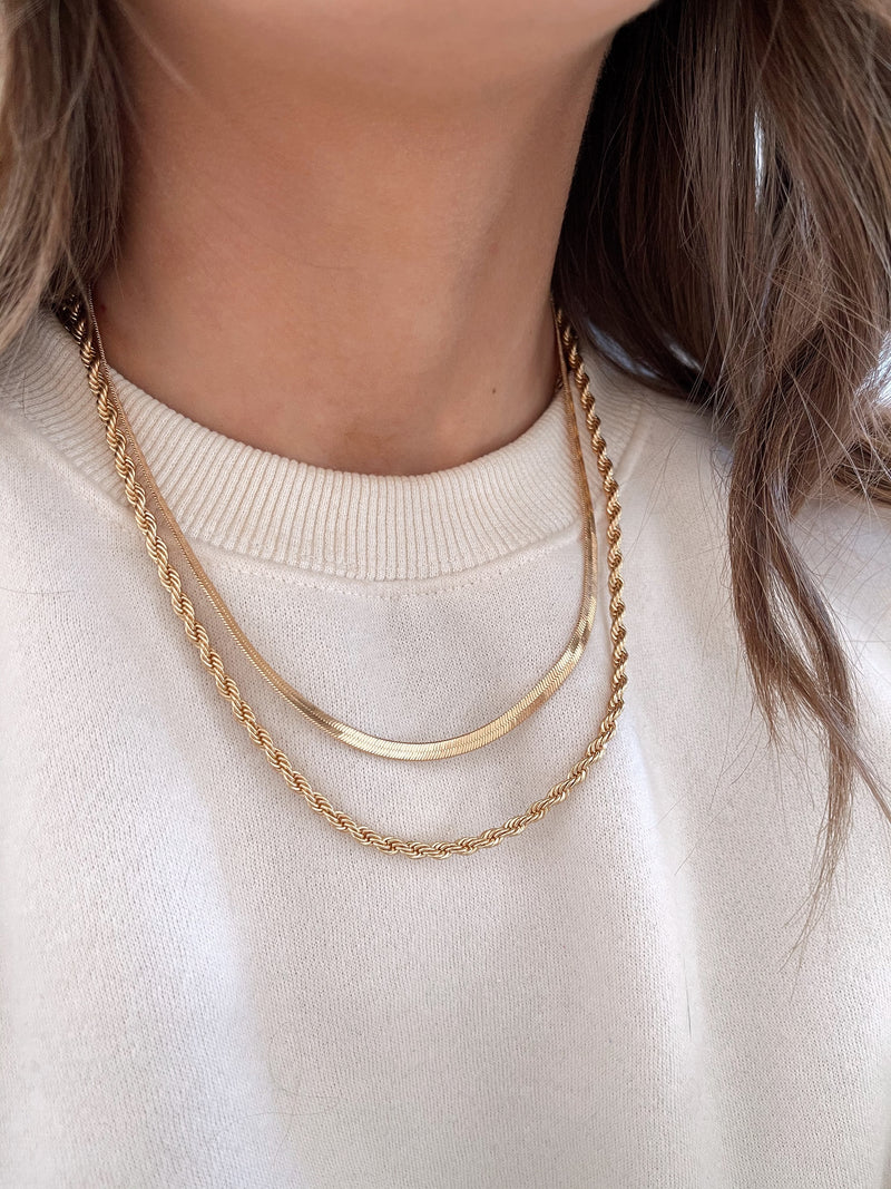 gold herringbone and rope chain necklace stack