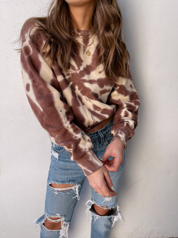 womens neutral brown tie dye crop pullover