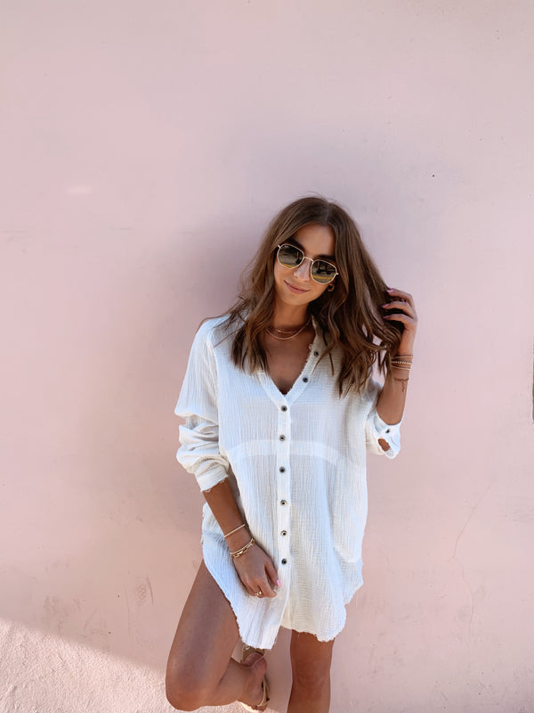 womens white button down cotton top