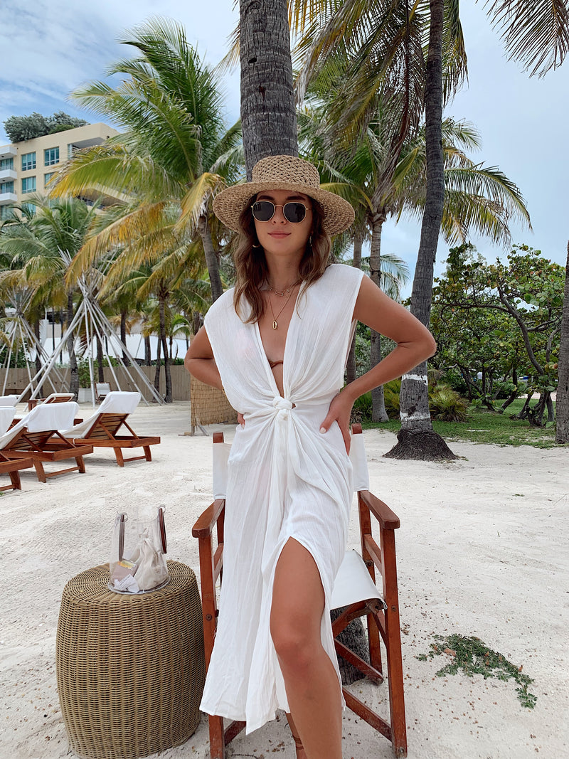 womens beach cover up, womens beach dress, beach cover up, white summer dress, white front tie dress, women white front tie dress