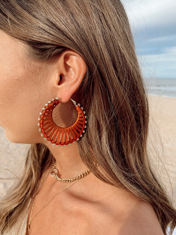 Woven Hoop Earrings - Rust