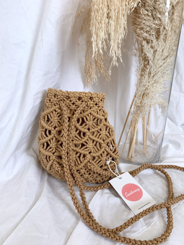 tan crochet mini backpack