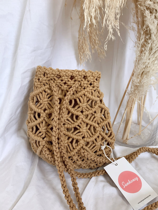 beige macrame mini backpack