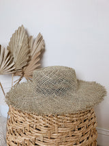 womens summer frayed straw hat