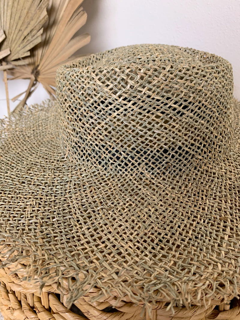 straw frayed hat