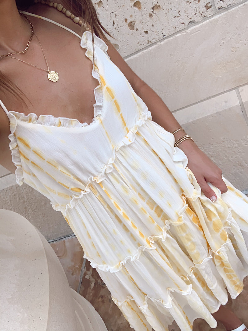 womens yellow tie dye mini dress