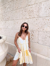 womens tie dye yellow mini dress