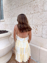 womens yellow tie dye ruffle babydoll dress