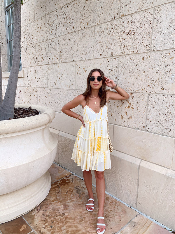 womens yellow tie dye babydoll dress