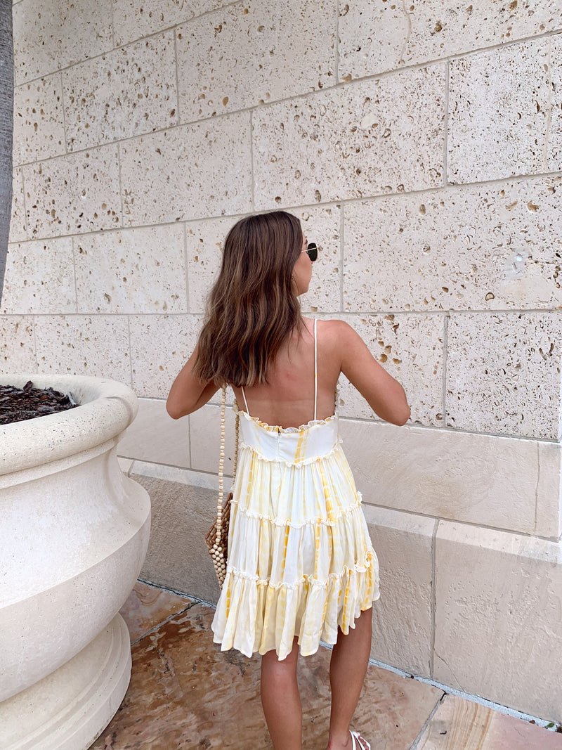 womens yellow tie dye ruffle mini dress
