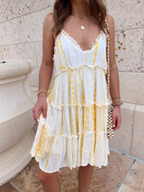womens boho yellow tie dye mini dress