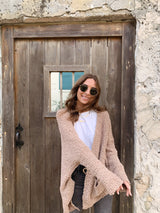 Women's brown mocha long sleeve cozy soft sweater cardigan