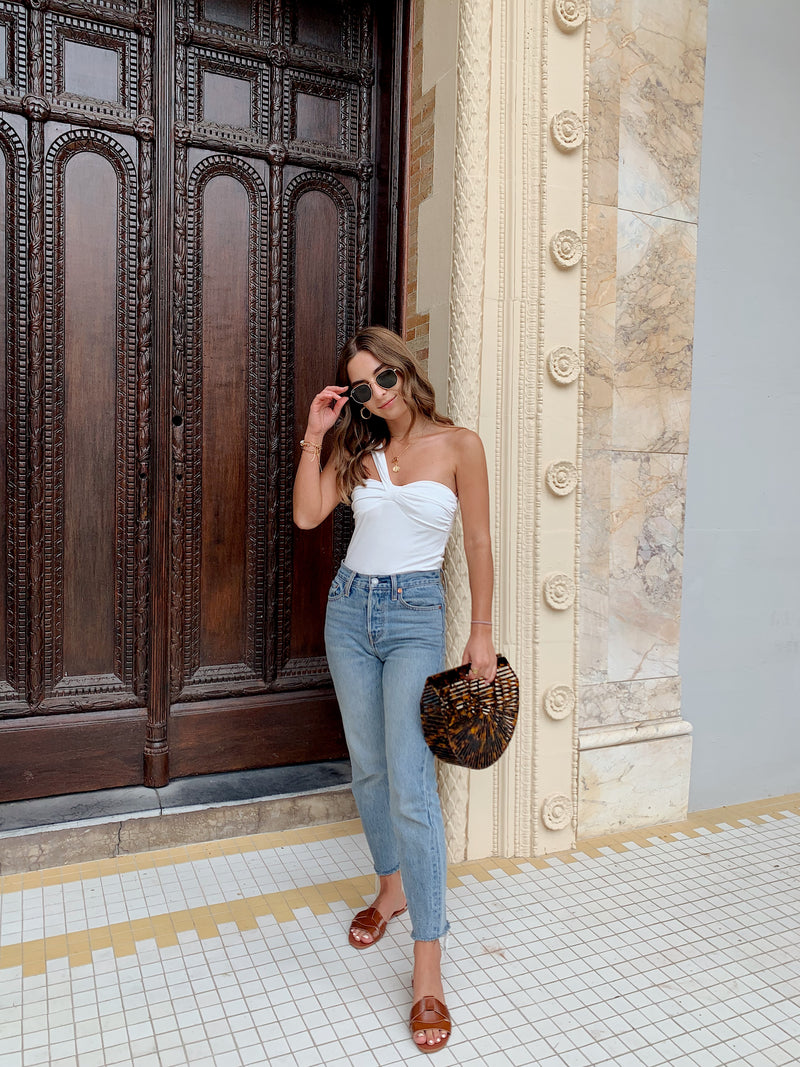 womens trendy white one shoulder top