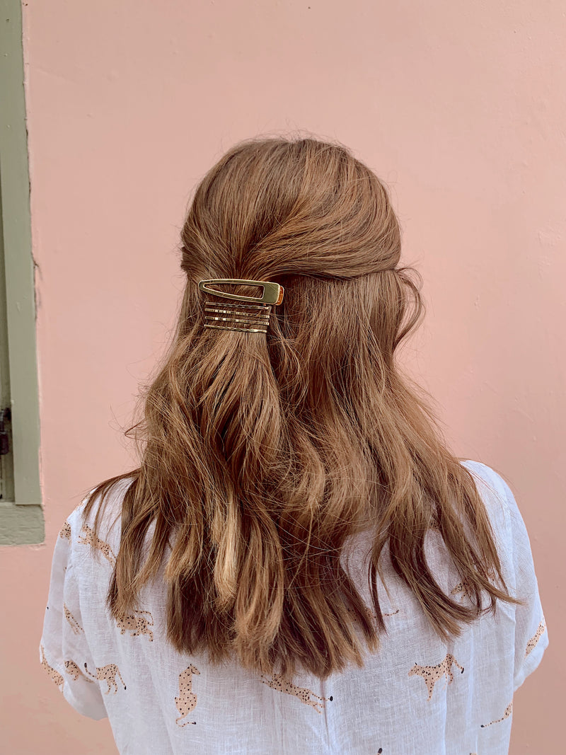 Womens straight, gold hair barrettes, hair pin