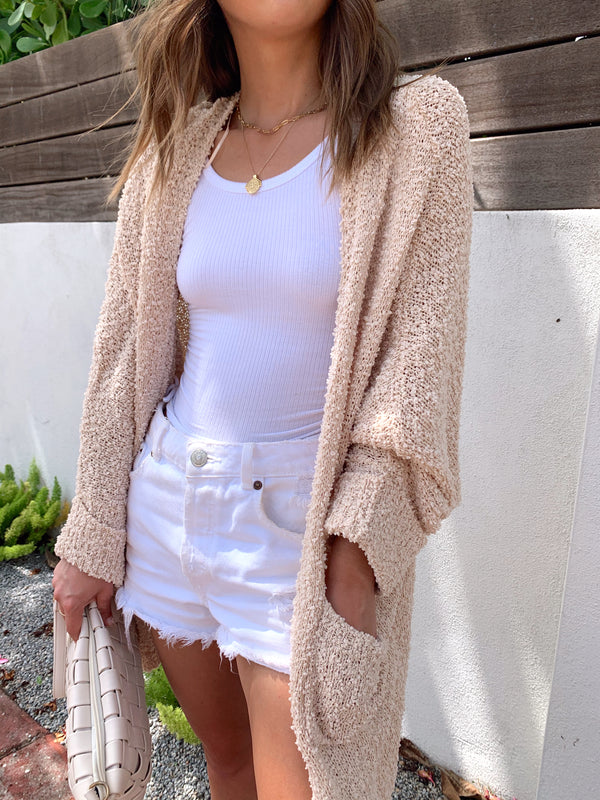 womens trendy cozy neutral cream cardigan