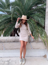 womens long sleeve side ruched knit dress