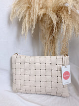 ivory leather basket woven bag