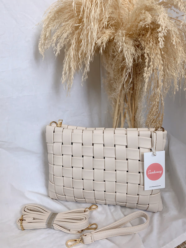 boho leather basket woven ivory bag