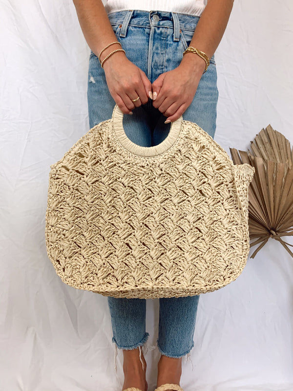 large straw boho summer bag