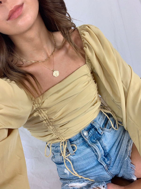 Golden boho crop top