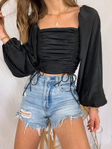 black long sleeve boho crop top