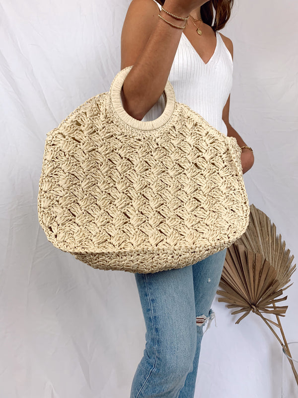 large straw summer bag