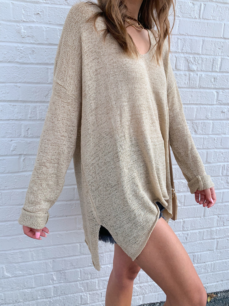 womens beige light weight sweater