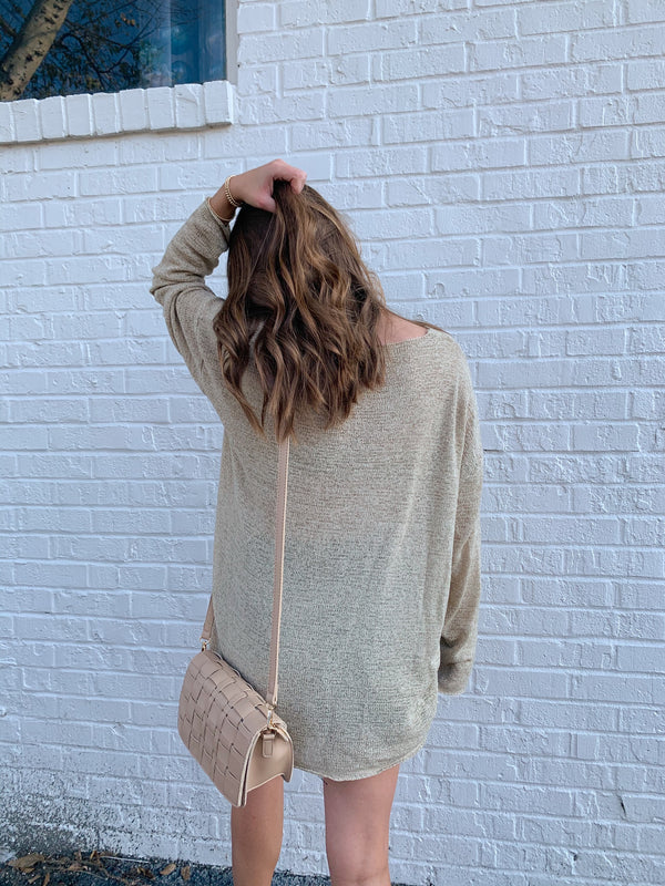 womens neutral tan vneck sweater