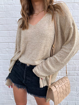 womens beige light weight v-neck sweater