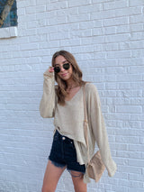 womens beige lightweight vneck sweater