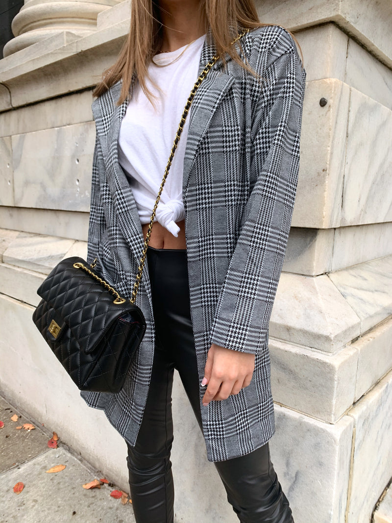 Womens plaid grey, white and black blazer jacket with front pockets, perfect office jacket for women