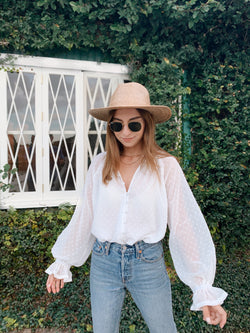 Women's boho white long sleeve sheer blouse