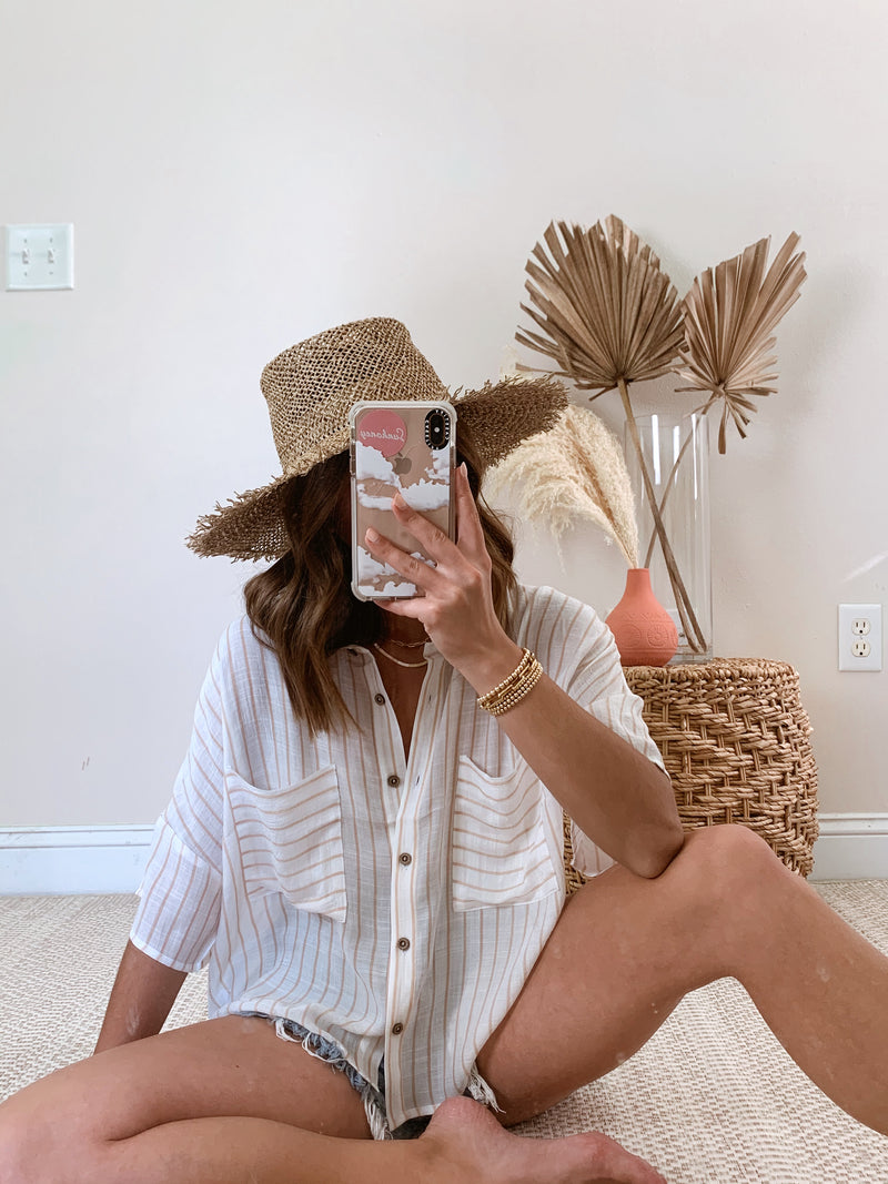 boho neutral taupe striped oversized summer top