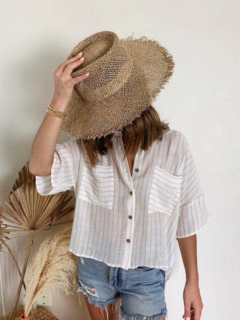 womens neutral striped button up boho summer top