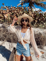 womens boho sheer beach cover up, long sleeve sheer cream front tie top