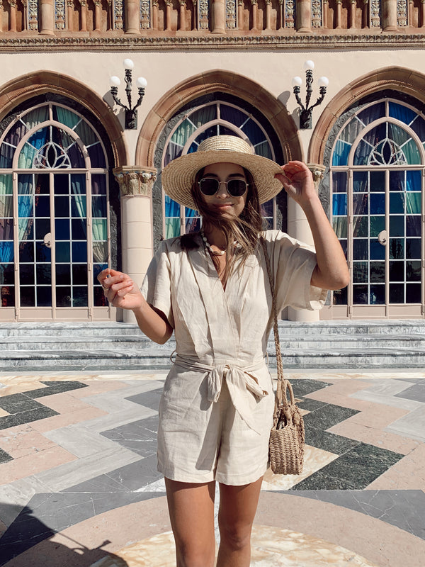 V-neck beige kimono short sleeve romper with front waist tie