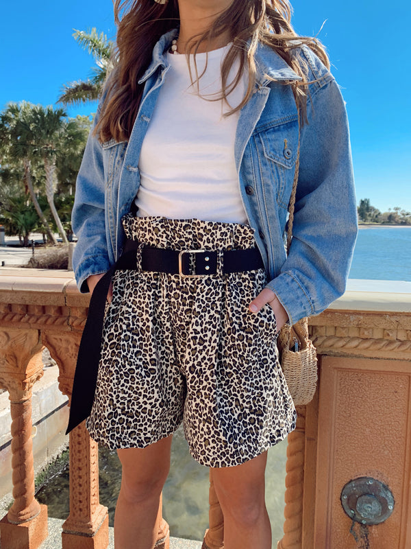 womens leopard shorts, leopard shorts, paperbag shorts, leopard paperbag shorts, leopard paper bag shorts, cheetah shorts, cheetah paper bag shorts