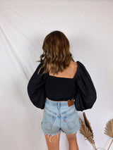 womens black boho crop top