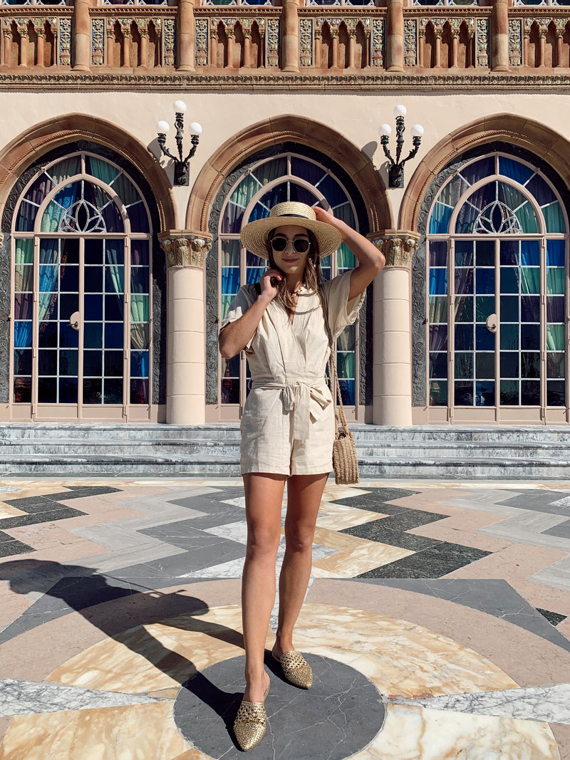 V-neck beige kimono short sleeve romper with front waist tie with straw hat