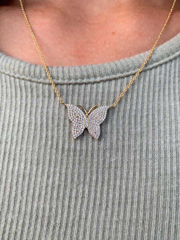 trendy gold and crystal butterfly necklace