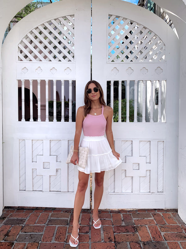 white cotton ruffle mini skirt