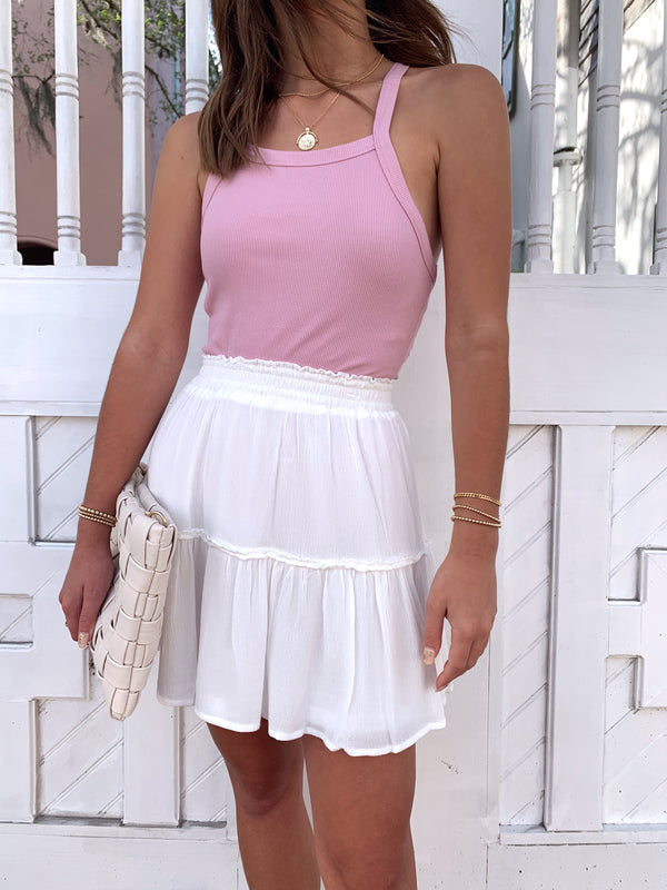 womens trendy white ruffle mini skirt