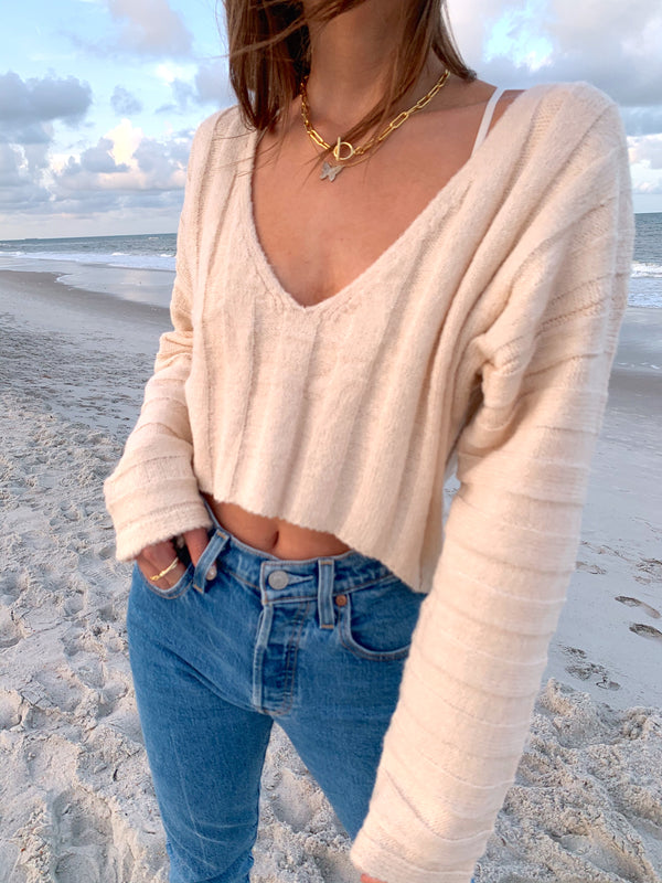 womens trendy cream crop sweater