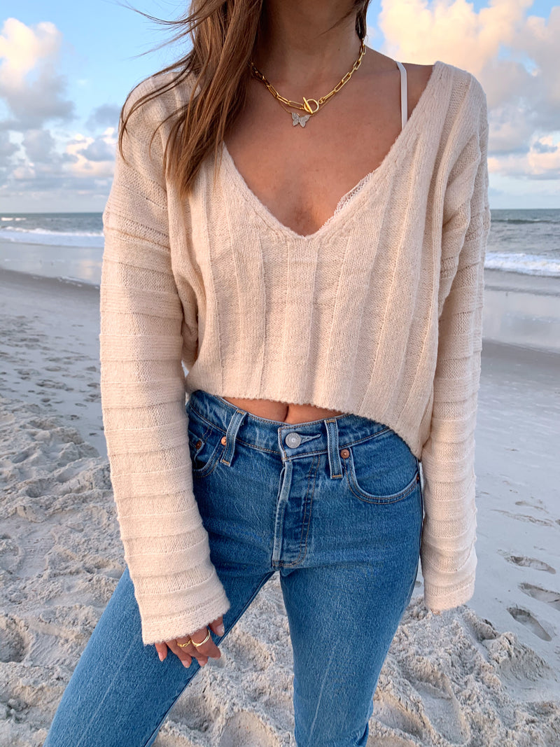 womens cream cozy crop sweater