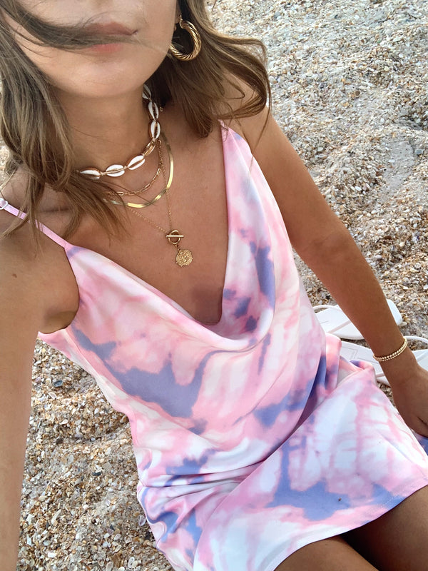 womens pink, purple, white tie dye slip dress