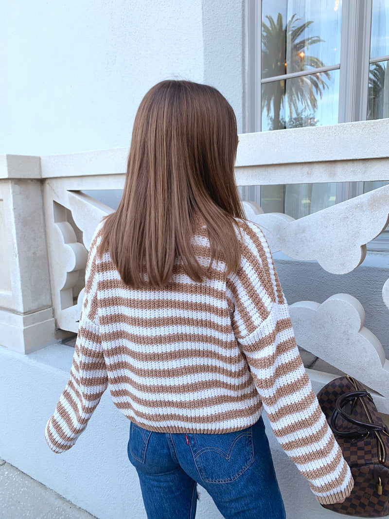 Caramel and white, crew neck, striped chenille long sleeve sweater