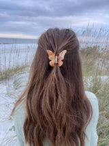 womens tan butterfly hair claw clips