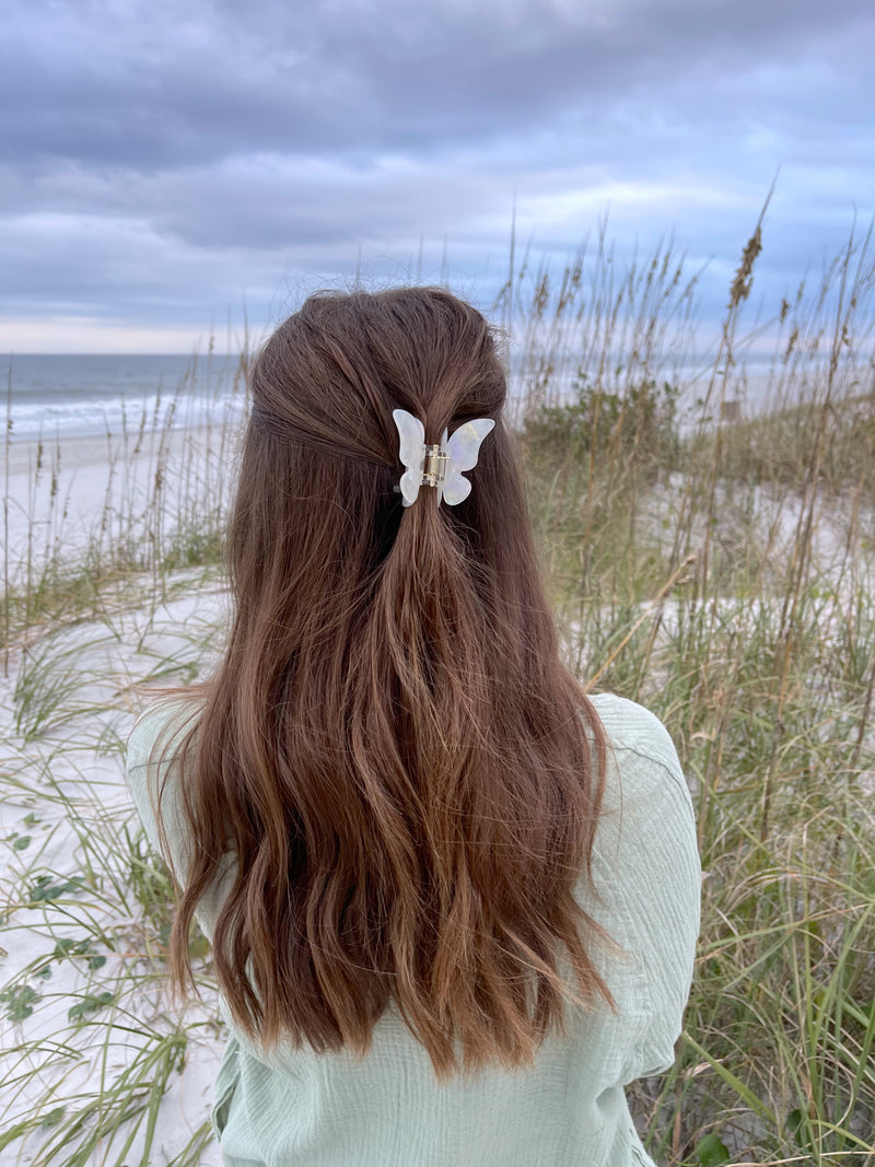 womens white butterfly hair clips