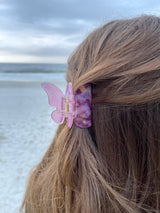 womens pink butterfly hair clip