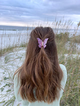womens pink purple butterfly hair clip
